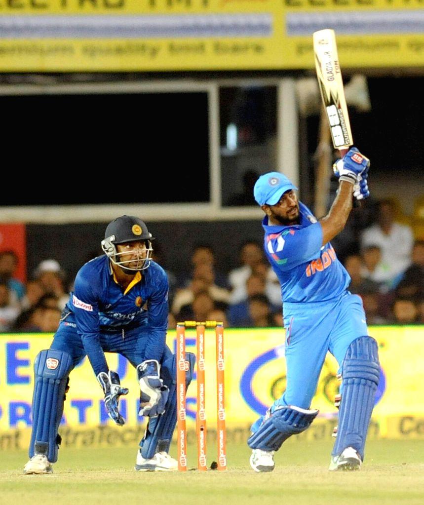 Indian batsmen Ambati Rayudu in action during second ODI match between India and Sri Lanka at Sardar Patel Cricket Stadium in Ahmedabad, on Nov 6, 2014.