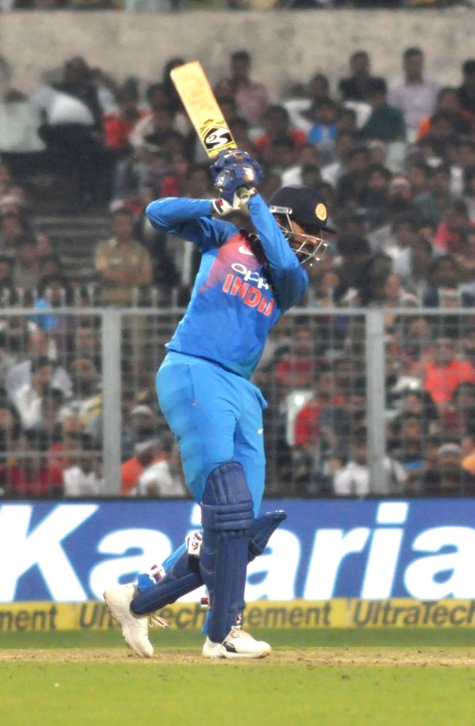 Indian batsmen Krunal Pandya in action during the first T20 International match between Indian and West Indies at the Eden Gardens in Kolkata, on Nov 4, 2018.
