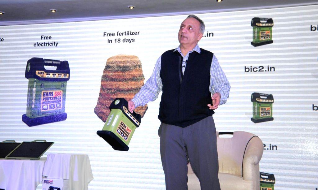 Indian-born billionaire and philanthropist Manoj Bhargava during the launch of solar powerpack in New Delhi on Oct 10, 2017.