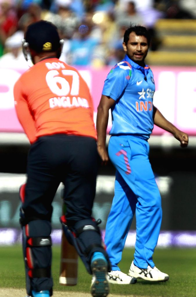 Indian bowler Mohammed Shami celebrates fall of Jason Roy's wicket during a T20 match between India and England at Edgbaston, Birmingham, England on Sept 7, 2014. - Mohammed Shami and Roy