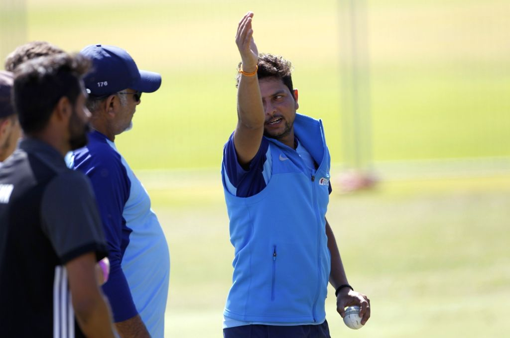 Indian bowling coach Bharat Arun in a conversation with spinner Kuldeep Yadav during a practice session ahead of the 3rd ODI against New Zealand, at the Bay Oval in Tauranga, New Zealand on ... - Kuldeep Yadav