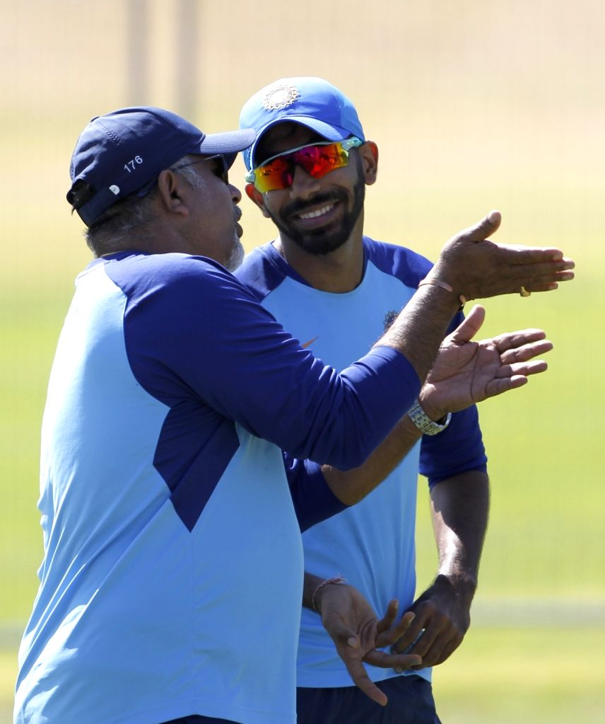 Indian bowling coach Bharat Arun in a conversation with fast bowler Jasprit Bumrah during a practice session ahead of the 3rd ODI against New Zealand, at the Bay Oval in Tauranga, New ... - Jasprit Bumrah