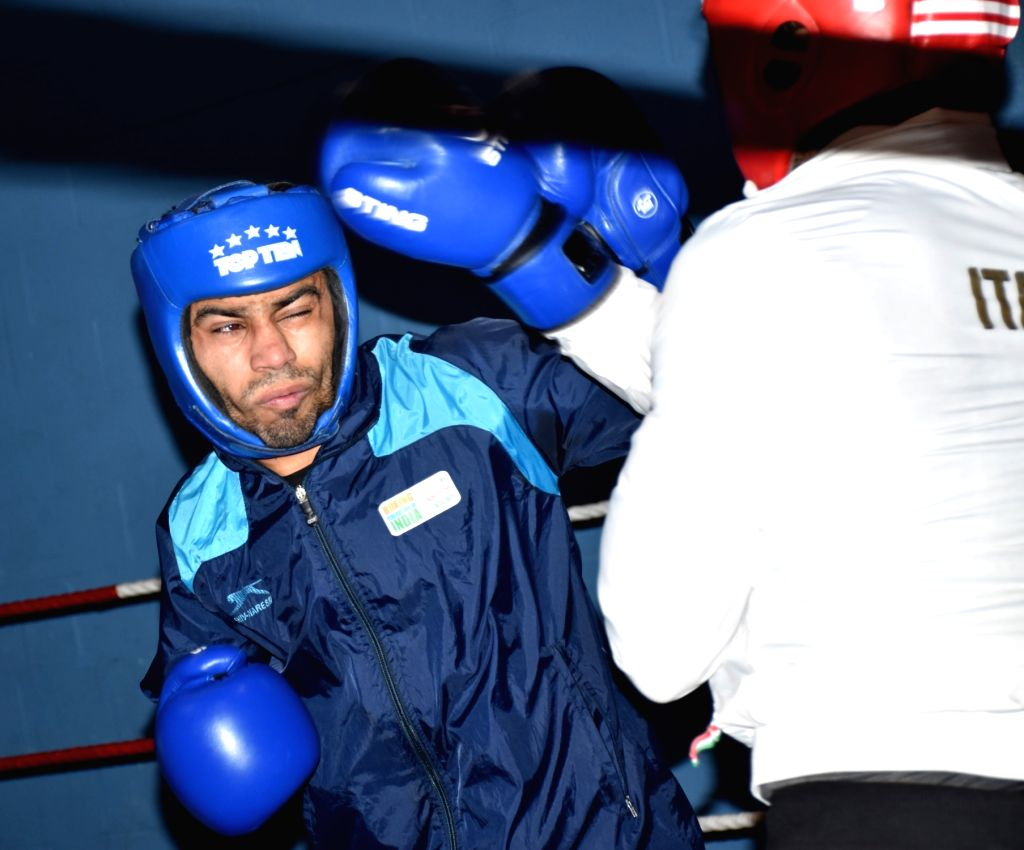 Indian boxer Amit Panghal in action during a training session ahead of the World Championships later in the year, in Ireland's Belfast on June 8, 2019. With a packed schedule coming up in ...