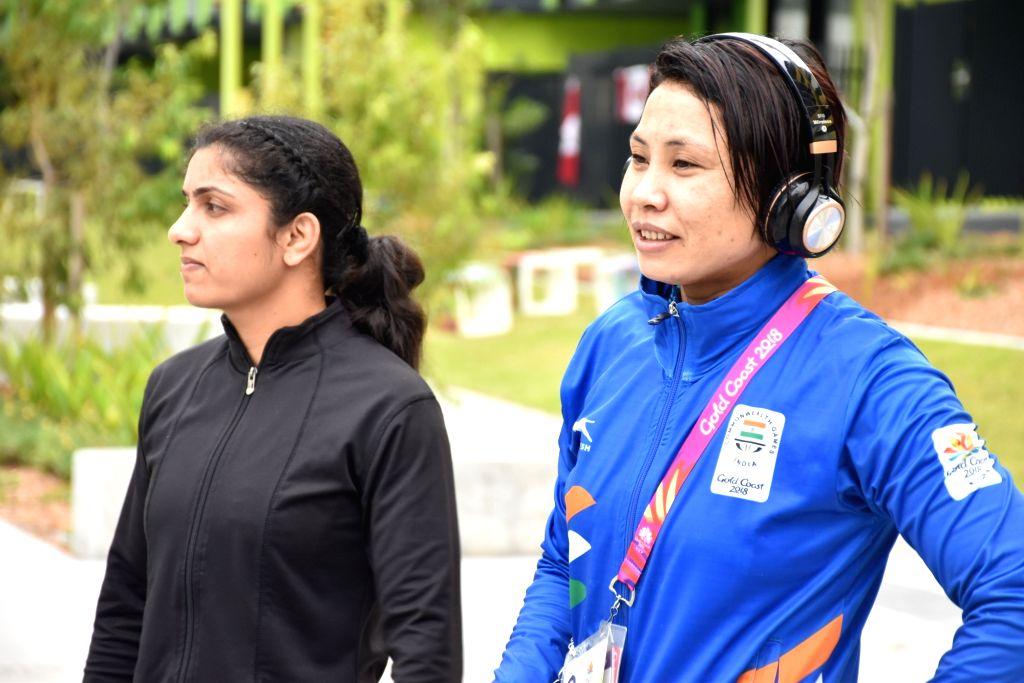 Indian boxer L Sarita Devi at Gold Coast 2018 Commonwealth Games village in Queensland, Australia on March 27, 2018.