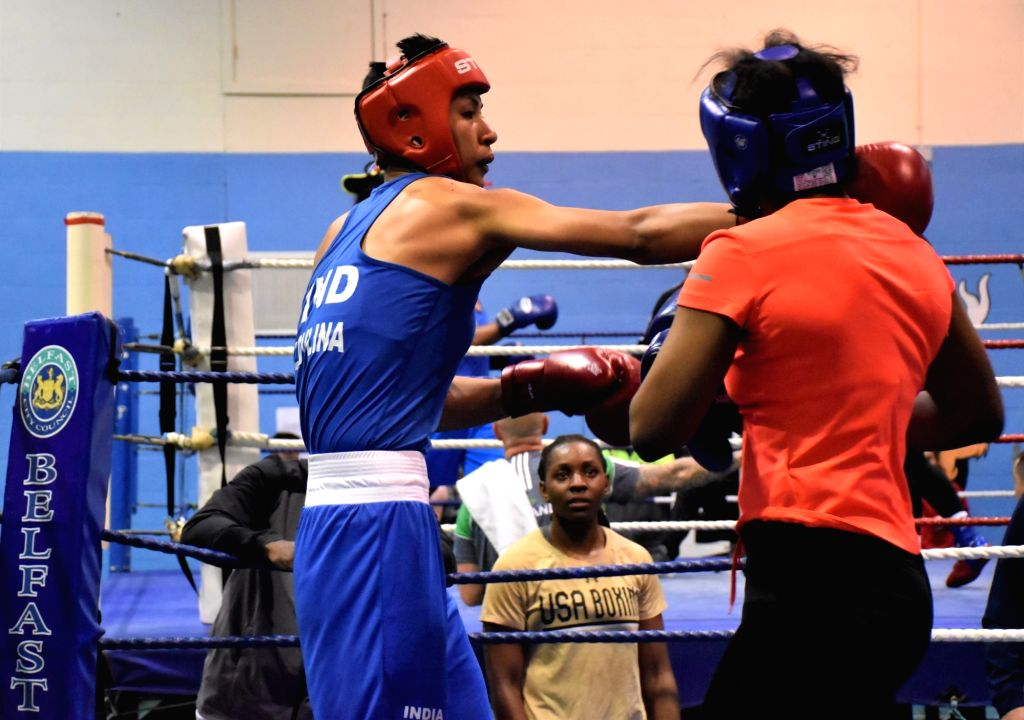 Indian boxer Lovlina Borgohain in action during a training session ahead of the World Championships later in the year, in Ireland's Belfast on June 8, 2019. With a packed schedule coming up ...