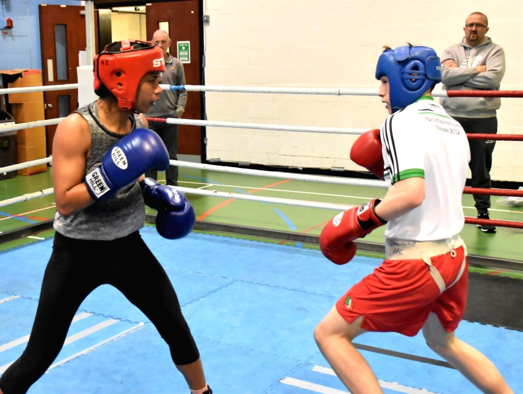 Indian boxer Nikhat Zareen in action during a training session ahead of the World Championships later in the year, in Ireland's Belfast on June 8, 2019. With a packed schedule coming up in ...