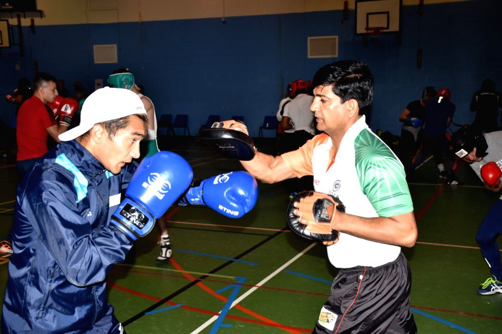 Indian boxer Shiva Thapa in action during a training session ahead of the World Championships later in the year, in Ireland's Belfast on June 8, 2019. With a packed schedule coming up in ...