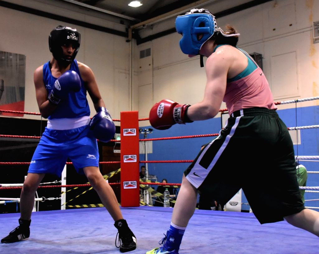 Indian boxer Simranjeet Kaur in action during a training session ahead of the World Championships later in the year, in Ireland's Belfast on June 8, 2019. With a packed schedule coming up in ... - Simranjeet Kaur