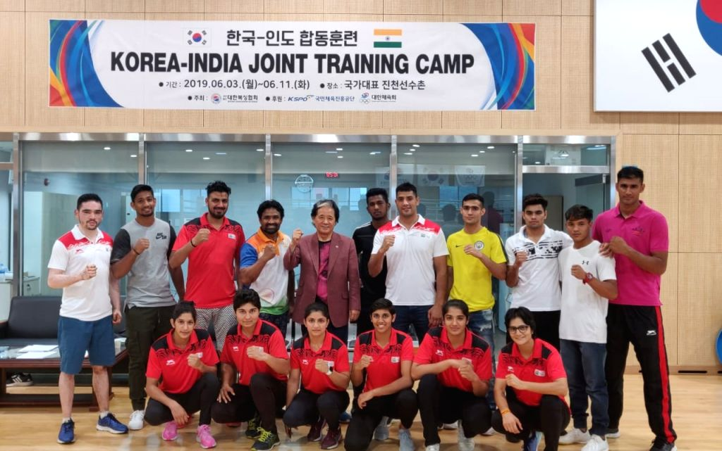 Indian boxers with the Boxing Association of Korea President Yoo Jae Joon at the National Center of Training in Incheon, Korea on June 7, 2019. With a packed schedule coming up in July ...