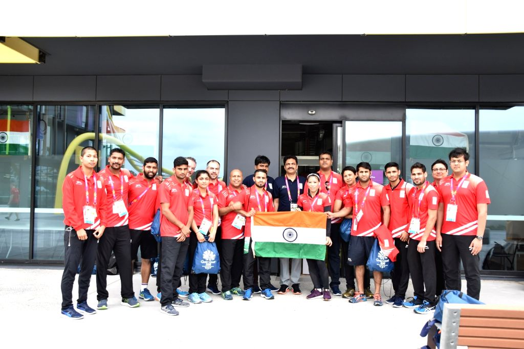 Indian Boxing Team at Gold Coast 2018 Commonwealth Games village in Queensland, Australia on March 27, 2018.