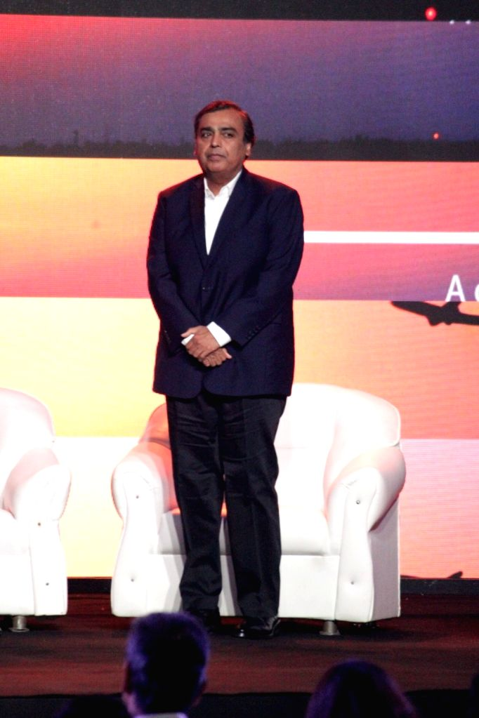 Indian business man, Mukesh Ambani during the launch of Nationalist Congress Party (NCP) leader Praful Patel's pictorial biography Udaan in Mumbai on May 14, 2017. - Mukesh Ambani and Praful Patel