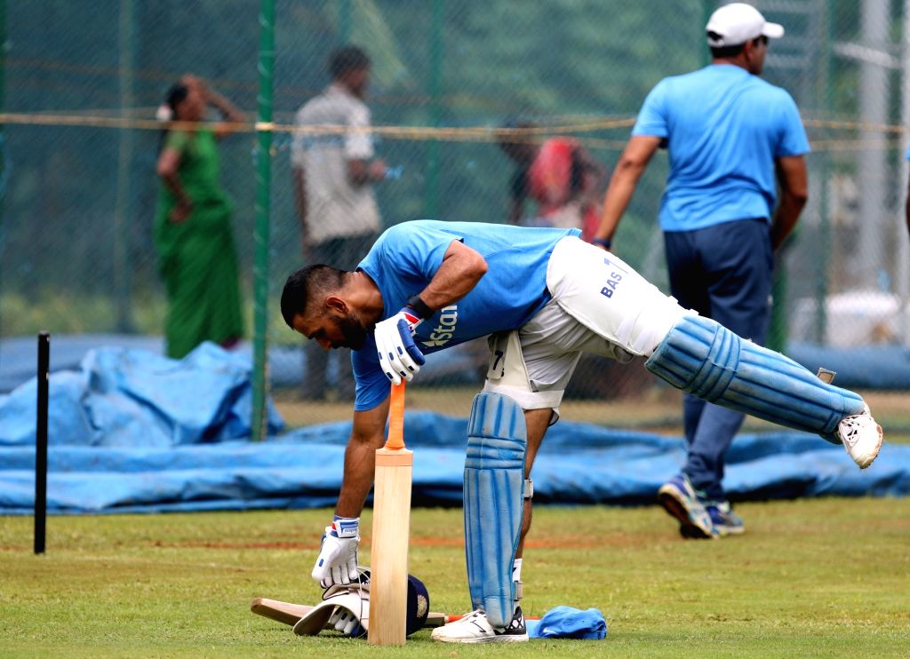Indian captain MS Dhoni during a practice session ahead of the fifth ODI match between India and New Zealand at Dr. Y.S. Rajasekhara Reddy ACA-VDCA Cricket Stadium in Visakhapatnam on ... - MS Dhoni