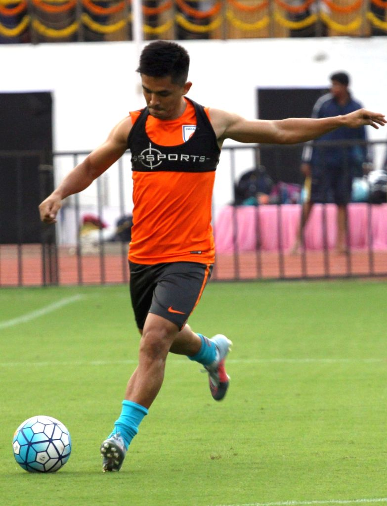 Indian captain Sunil Chettri during a practice session ahead of 2019 AFC Asian Cup qualifier match against Macau at Kanteerava Stadium in Bengaluru, on Oct 10, 2017. - Sunil Chettri