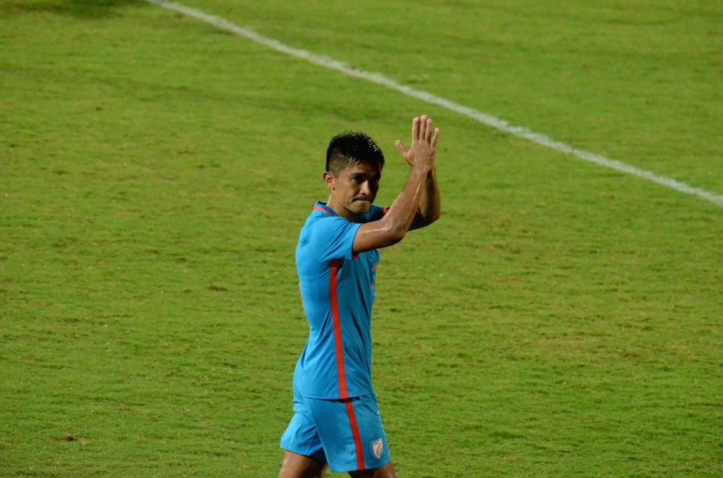 Indian captain Sunil Chhetri acknowledges the crowd after an Intercontinental Cup 2018 match between India and New Zealand in Mumbai, on June 7, 2018.  New Zealand won. Score: 2-1. - Sunil Chhetri