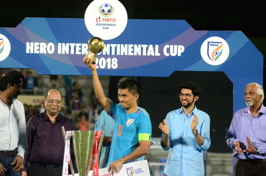 Indian captain Sunil Chhetri celebrates after winning the Intercontinental Cup at Andheri Sport Complex in Mumbai on June 10, 2018. India defeated Kenya in the finals. Score: 2-0. - Sunil Chhetri