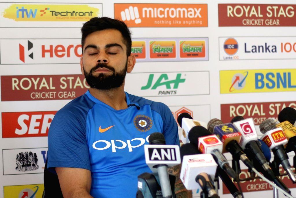 Indian captain Virat Kohli addresses a press conference at Galle International Stadium in Galle, Sri Lanka on July 25, 2017. - Virat Kohli