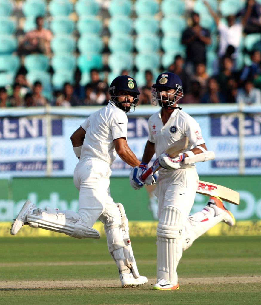 Indian Captain Virat Kohli and Ajinkya Rahane running between the wickets during day three of the 2nd test match between India and England at the Dr. Y.S. Rajasekhara Reddy ACA-VDCA ... - Virat Kohli