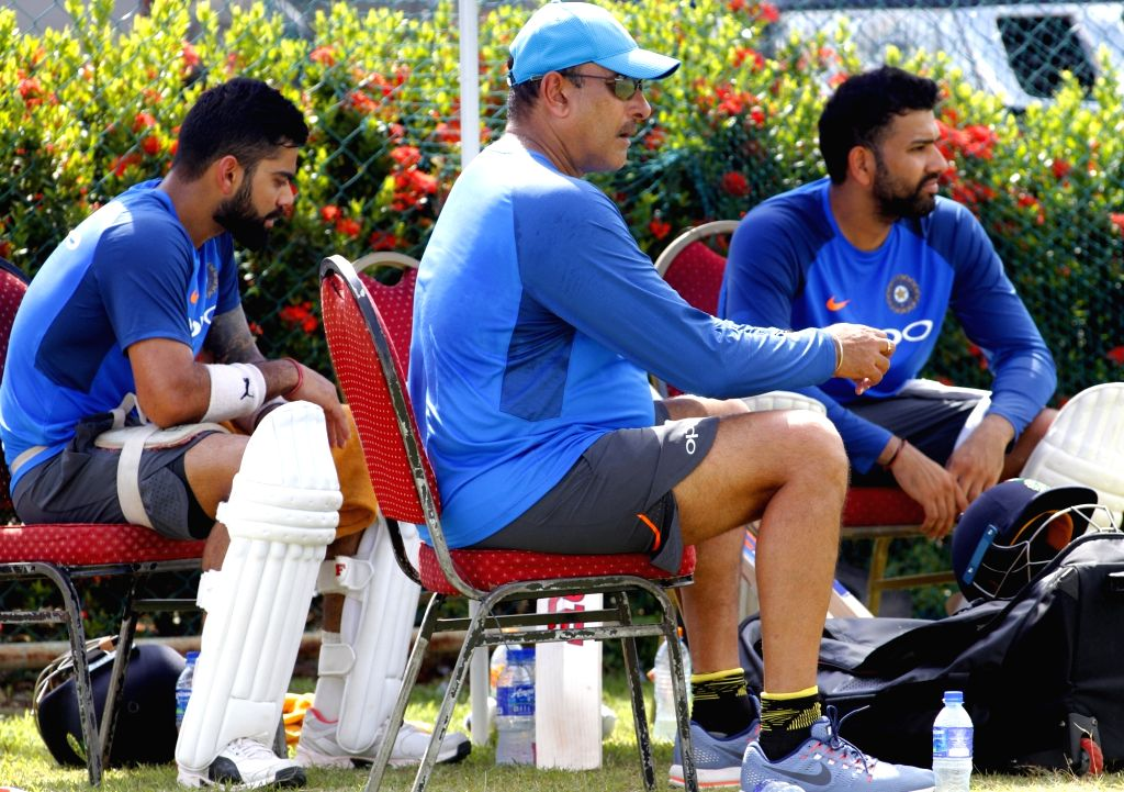 Indian captain Virat Kohli and Rohit Sharma during a practice session at Galle International Stadium in Galle, Sri Lanka on July 25, 2017. - Virat Kohli and Rohit Sharma