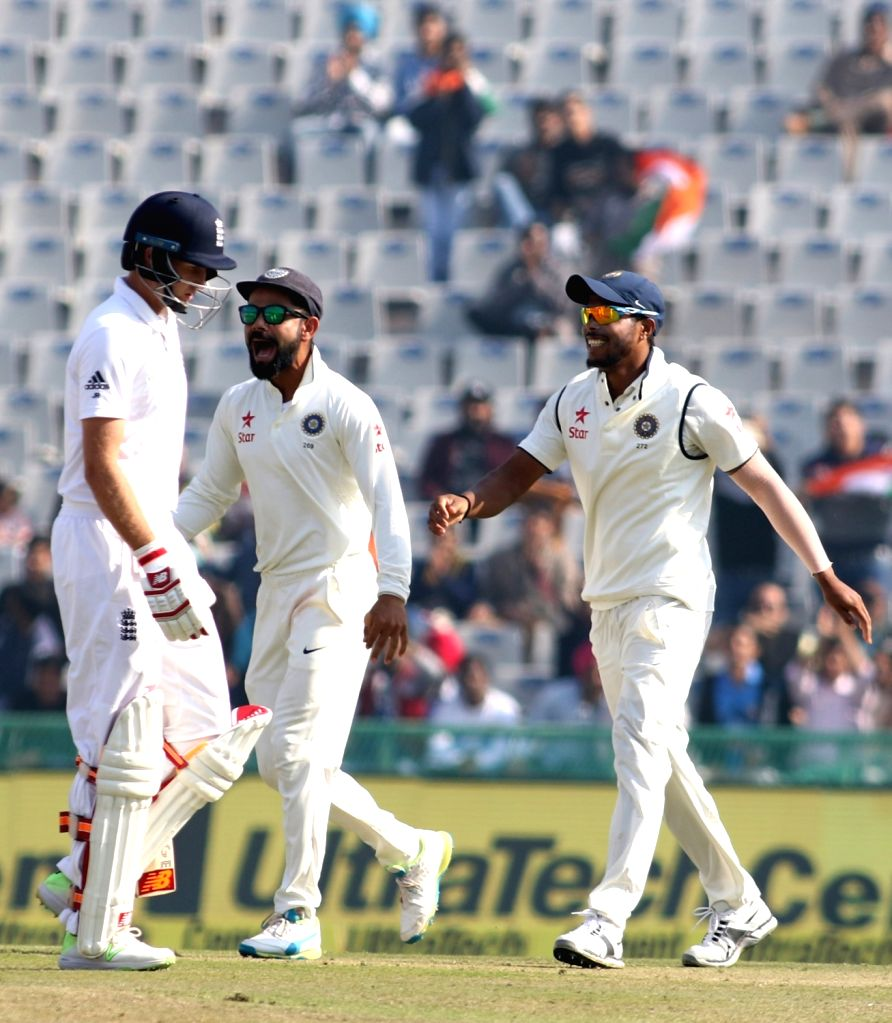 Indian Captain Virat Kohli celebrates the dismissal of Joe Root of England during day 1 of the third test match between India and England held at the Punjab Cricket Association IS Bindra ... - Virat Kohli