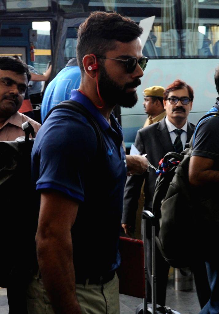 Indian captain Virat Kohli departs from Netaji Subhas Chandra Bose International Airport in Kolkata on Oct 5, 2016. - Virat Kohli