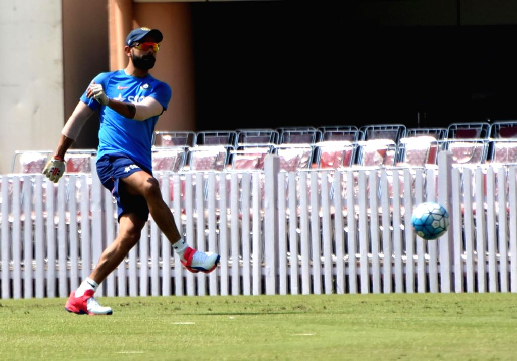 Indian captain Virat Kohli during a practice session ahead of the third test match between India and Australia at JSCA stadium in Ranchi on March 14, 2017. - Virat Kohli