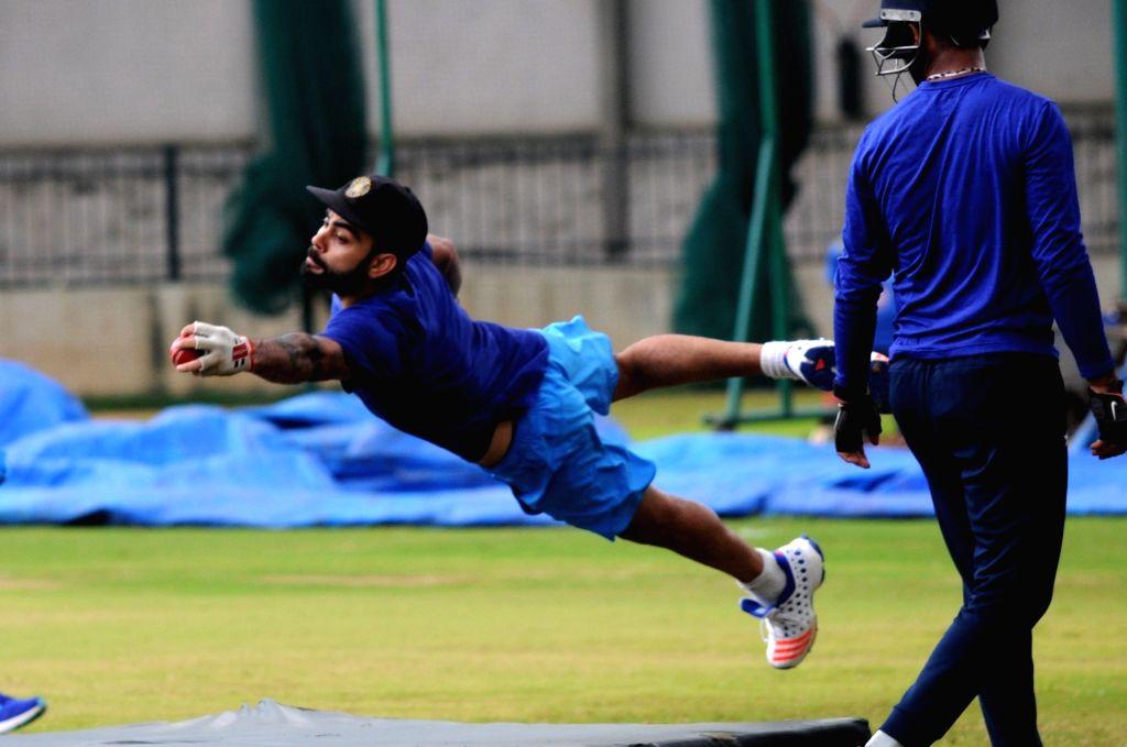 Indian captain Virat Kohli during a preparatory camp ahead of  West Indies tour at National Cricket Academy at Chinnaswamy Stadium, in Bengaluru on July 4, 2016. - Virat Kohli