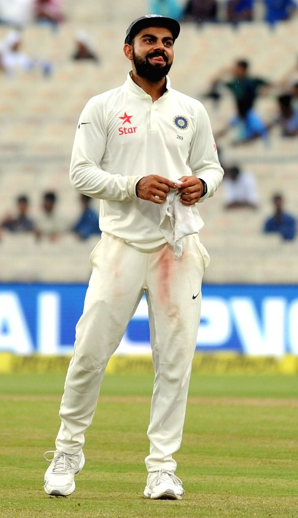 Indian captain Virat Kohli during Day 2 of the Second Test Match between India and New Zealand at Eden Gardens in Kolkata on Oct 1, 2016. - Virat Kohli