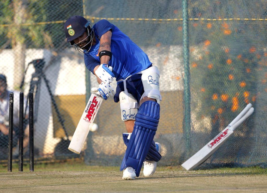 Indian captain Virat Kohli in action during a practice session ahead of the 1st T20I match against Australia at ACA-VDCA Cricket Stadium in Visakhapatnam on Feb 22, 2019. - Virat Kohli