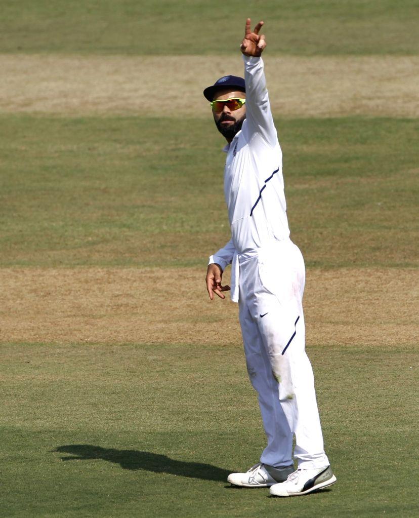 Indian captain Virat Kohli on Day 1 of the 1st Test match between India and Bangladesh at Holkar Cricket Stadium in Indore, Madhya Pradesh on Nov 14, 2019. - Virat Kohli