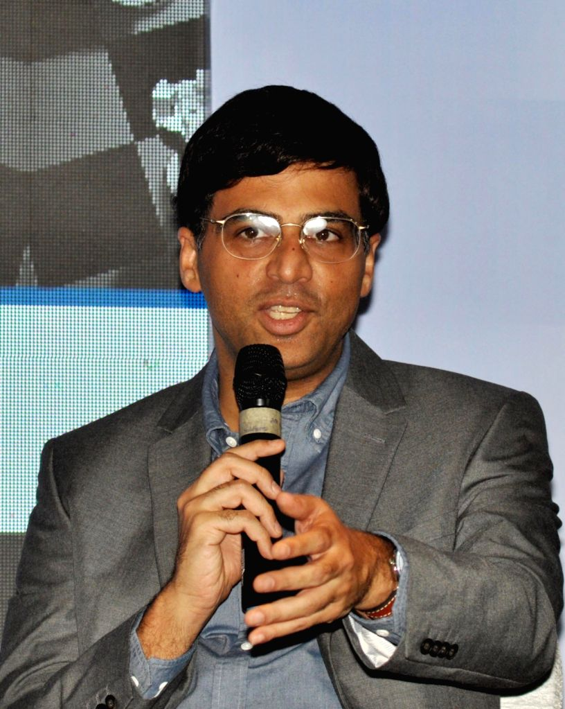 """Indian Chess player Viswanathan Anand addresses during a press conference regarding """"Tata Steel Chess India"""", in Kolkata on Sept 15, 2018."""