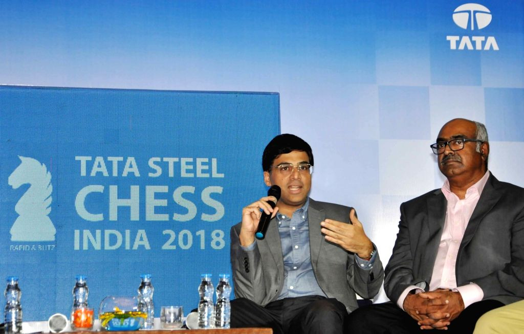 """Indian Chess player Viswanathan Anand and Tata Steel Vice President of Corporate Services Sunil Bhaskaran during a press conference regarding """"Tata Steel Chess India"""", in Kolkata ..."""