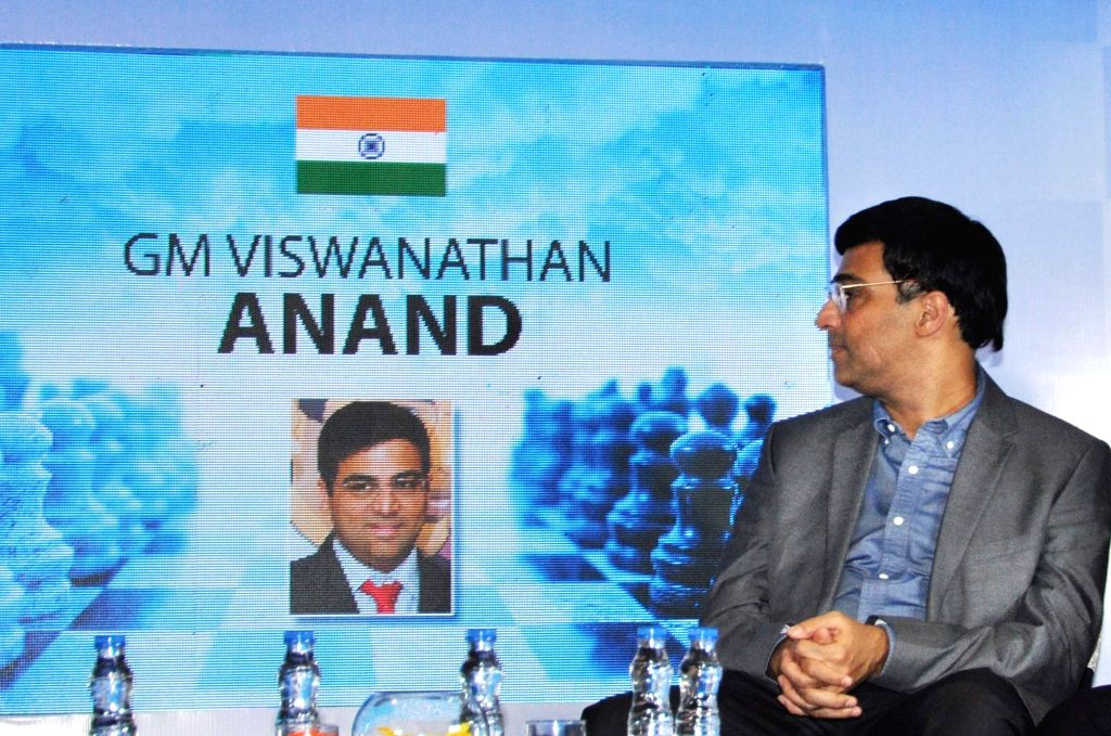 """Indian Chess player Viswanathan Anand during a press conference regarding """"Tata Steel Chess India"""", in Kolkata on Sept 15, 2018."""