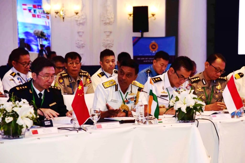 Indian Coast Guard Director General Krishnaswamy Natrajan presides over a meeting to review the activities of HACGAM (Heads of Asian Coast Guard Agencies Meeting) Forum on Day 2 of the ...