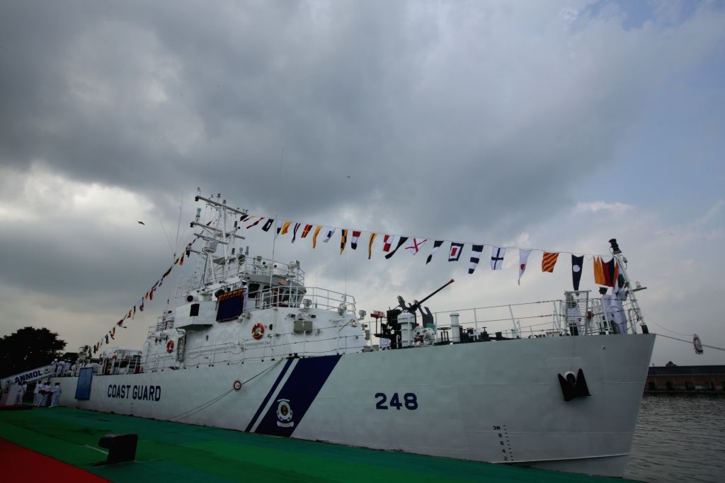 """Indian Coast Guard Fast Patrol Vessel """"ICGS Anmol"""" during its commissioning ceremony at Andaman Jetty of Khidirpur Dock in Kolkata, on Oct 15, 2015."""