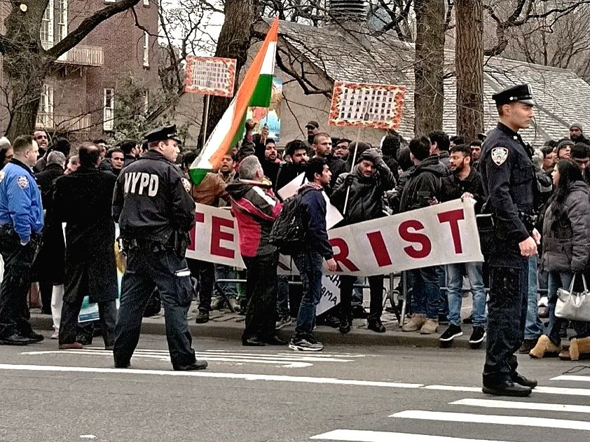 Indian community hold a protest near the Pakistani Consulate in New York on Friday, February 22, 2019, against the terrorist attack by Pakistan-based terrorist organisation Jaish-e-Mohammed that killed more than 40 Indian security personnel on Februa