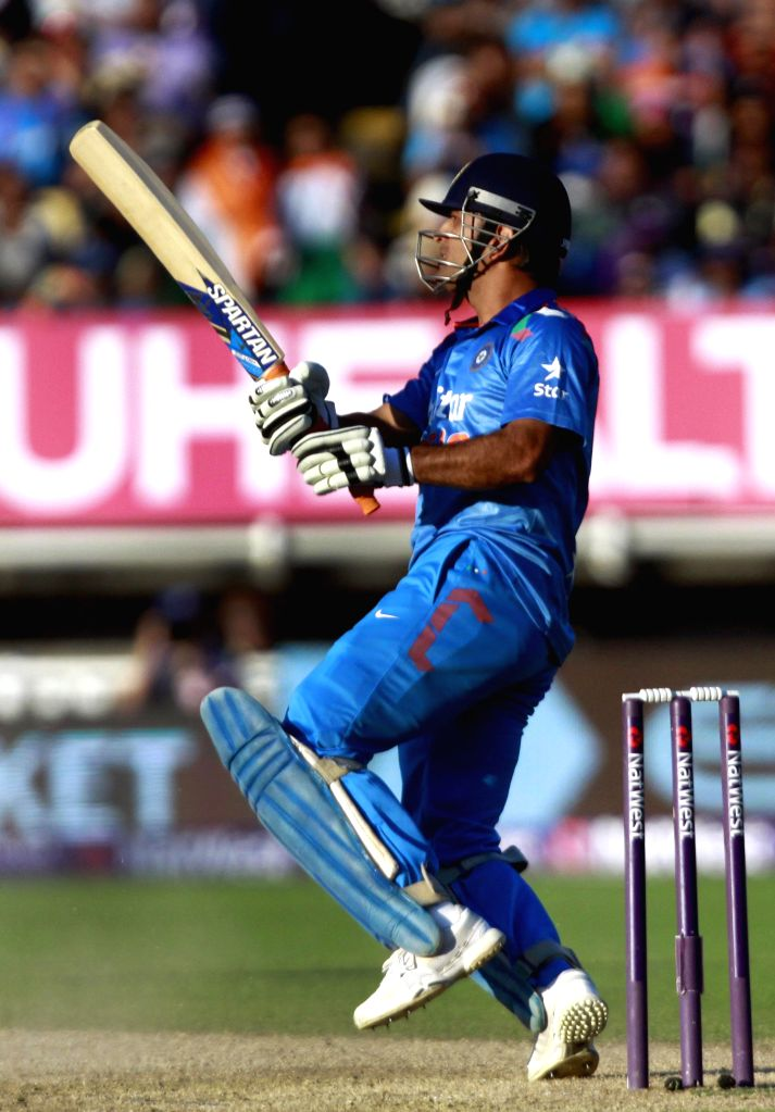 Indian cricket captain MS Dhoni in action during a T20 match between India and England at Edgbaston, Birmingham, England on Sept 7, 2014. - MS Dhoni