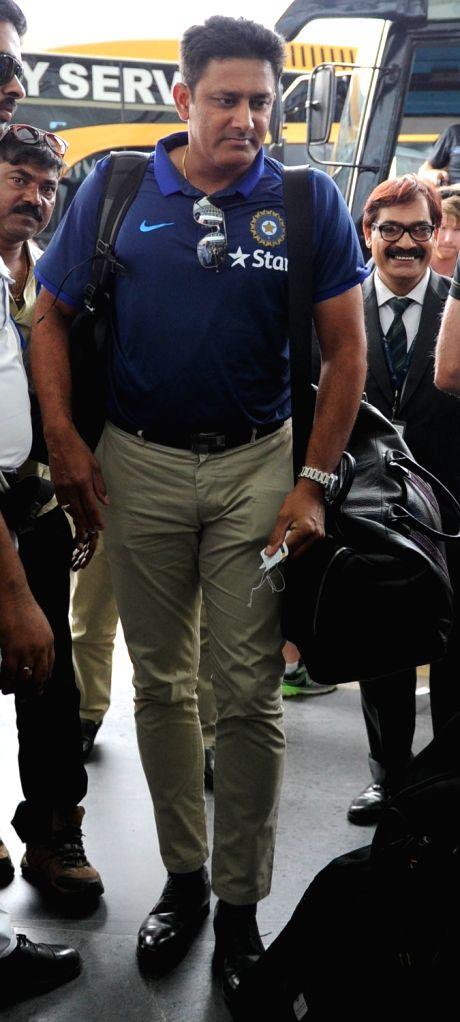 Indian cricket coach Anil Kumble departs from Netaji Subhas Chandra Bose International Airport in Kolkata on Oct 5, 2016.