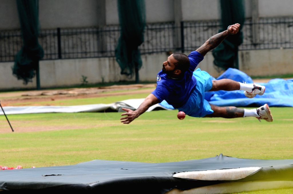 Indian cricket Shikhar Dhawan during a preparatory camp ahead of  West Indies tour at National Cricket Academy at Chinnaswamy Stadium, in Bengaluru on July 4, 2016. - Shikhar Dhawan