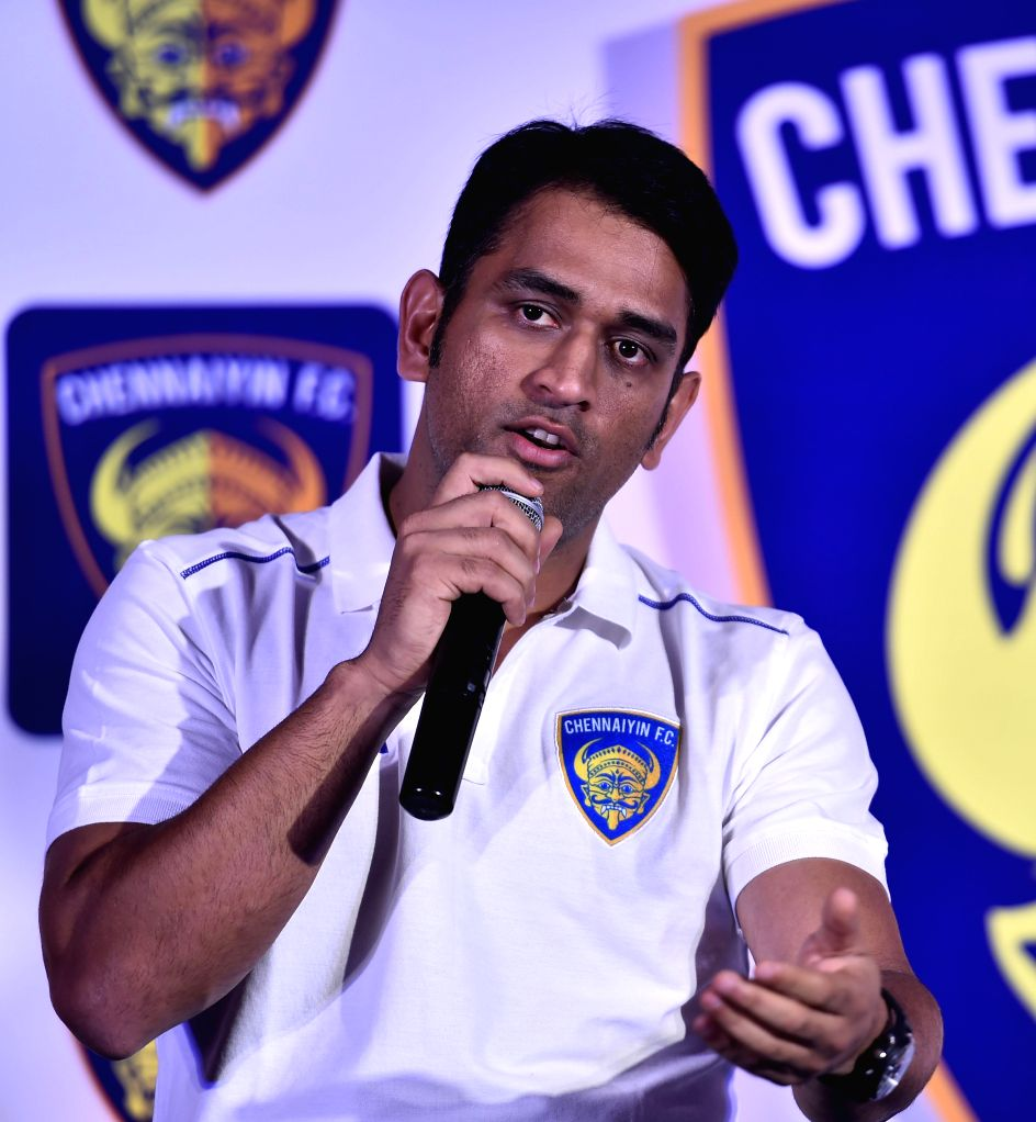 Indian cricket team Captain MS Dhoni after official announcement as the co-owner of Indian Super League (ISL) franchise club Chennaiyin FC in Chennai on Oct. 6, 2014.