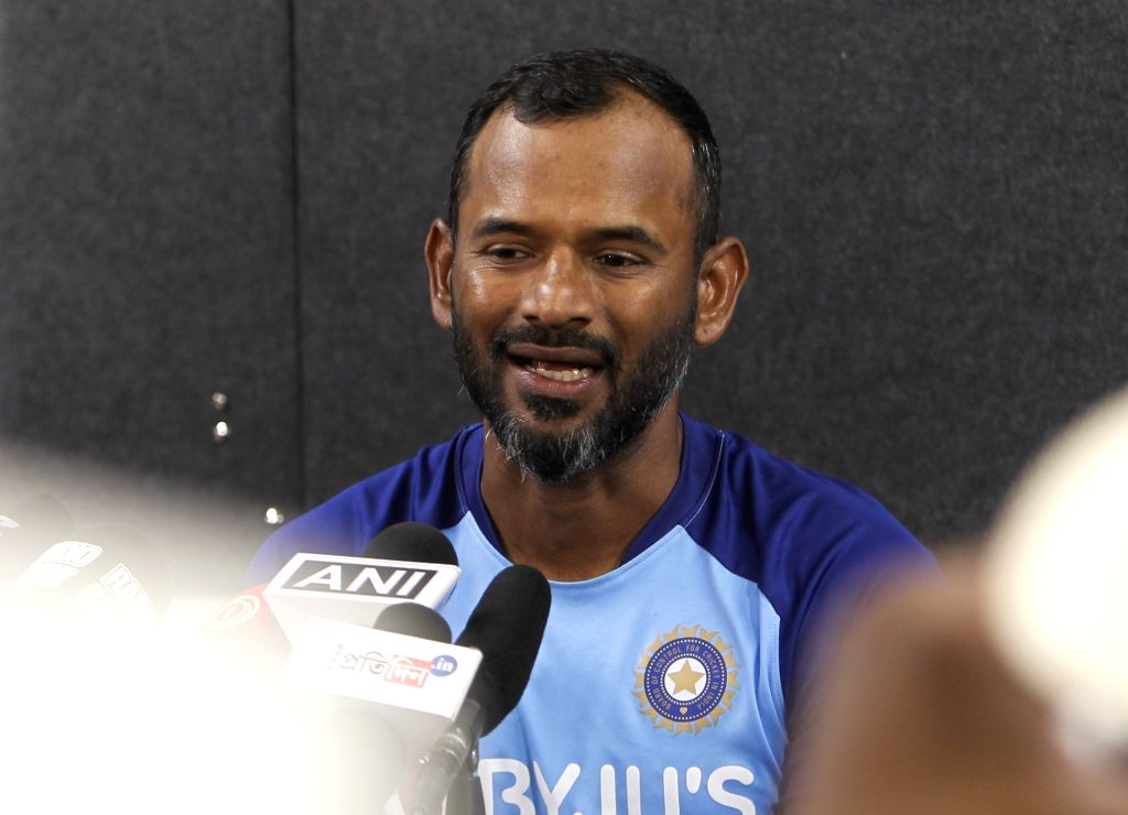 Indian cricket team fielding coach Ramakrishnan Sridhar addresses a press conference in Auckland, New Zealand on Feb 7, 2020.