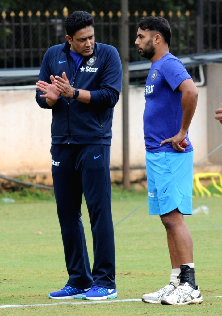 Indian cricket team head coach Anil Kumble and Stuart Binny during a preparatory camp ahead of  West Indies tour at National Cricket Academy at Chinnaswamy Stadium, in Bengaluru on June ...