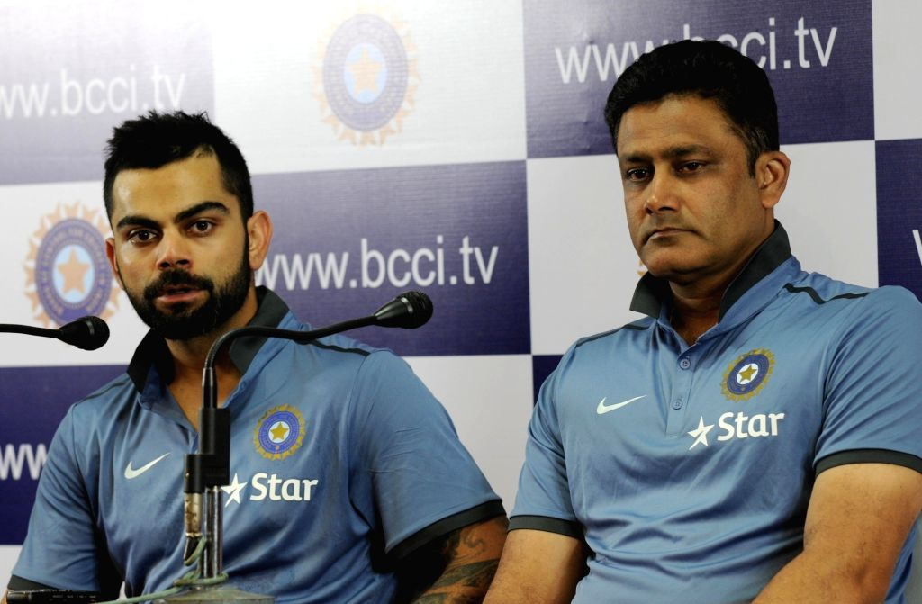 Indian cricket team head coach Anil Kumble and Virat Kohli during a press conference at Chinnaswamy Stadium, in Bengaluru on July 2, 2016. - Virat Kohli