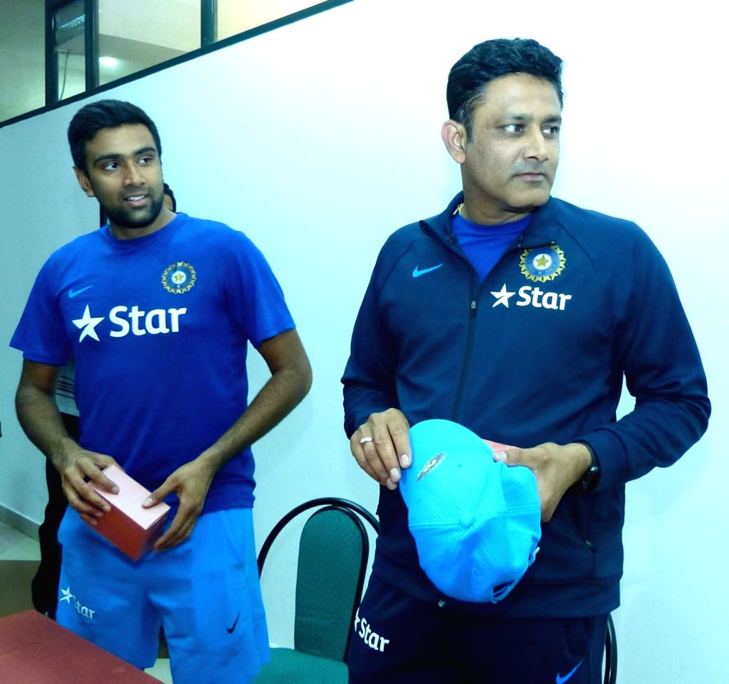 Indian cricket team head coach Anil Kumble and R Ashwin during a press conference at Chinnaswamy Stadium, in Bengaluru on July 2, 2016.