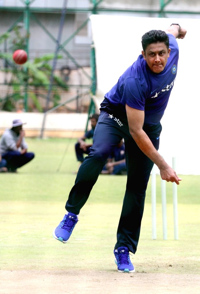 Indian cricket team head coach Anil Kumble in action during a preparatory camp ahead of  West Indies tour at National Cricket Academy at Chinnaswamy Stadium, in Bengaluru on June 30, 2016.