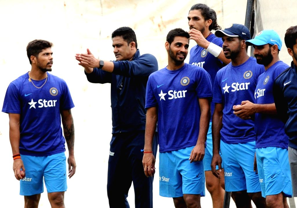 Indian cricket team head coach Anil Kumble with bowlers during a preparatory camp ahead of  West Indies tour at National Cricket Academy at Chinnaswamy Stadium, in Bengaluru on June 30, ...