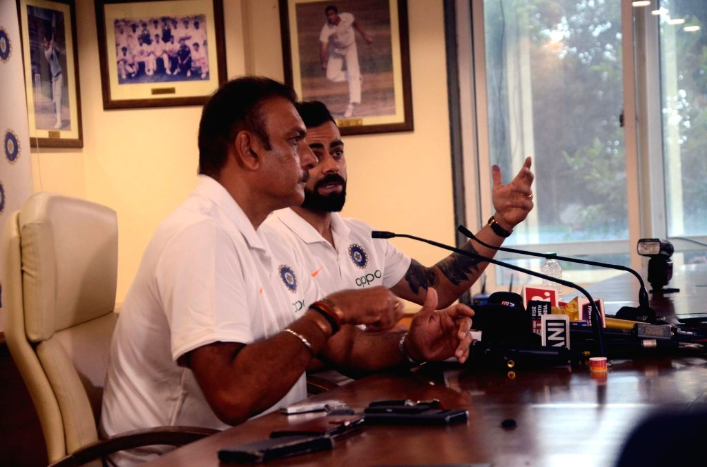 Indian cricket team's head coach Ravi Shastri and skipper Virat Kohli address a press conference ahead of leaving for England to participate in the ICC Cricket World Cup 2019, in Mumbai on ... - Virat Kohli