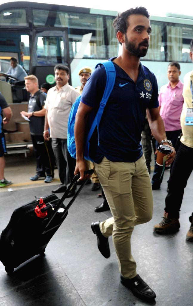 Indian cricketer Ajinkya Rahane departs from Netaji Subhas Chandra Bose International Airport in Kolkata on Oct 5, 2016.
