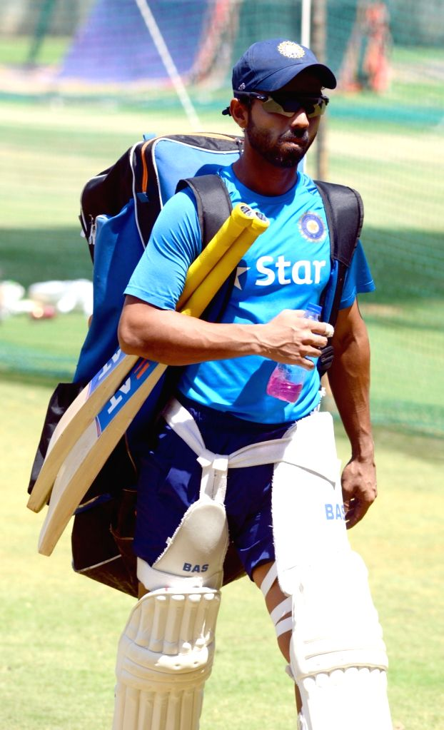 Indian cricketer Ajinkya Rahane during a practice session ahead of the second test match between India and Australia in Bengaluru on March 3, 2017.
