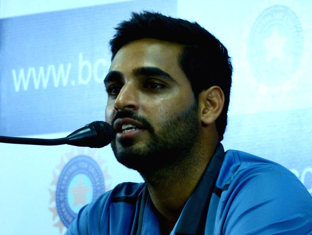 Indian cricketer Bhuvaneshwar Kumar addresses a press conference at Chinnaswamy Stadium, in Bengaluru on July 2, 2016. - Bhuvaneshwar Kumar