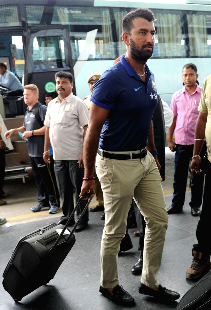 Indian cricketer Cheteshwar Pujara departs from Netaji Subhas Chandra Bose International Airport in Kolkata on Oct 5, 2016.